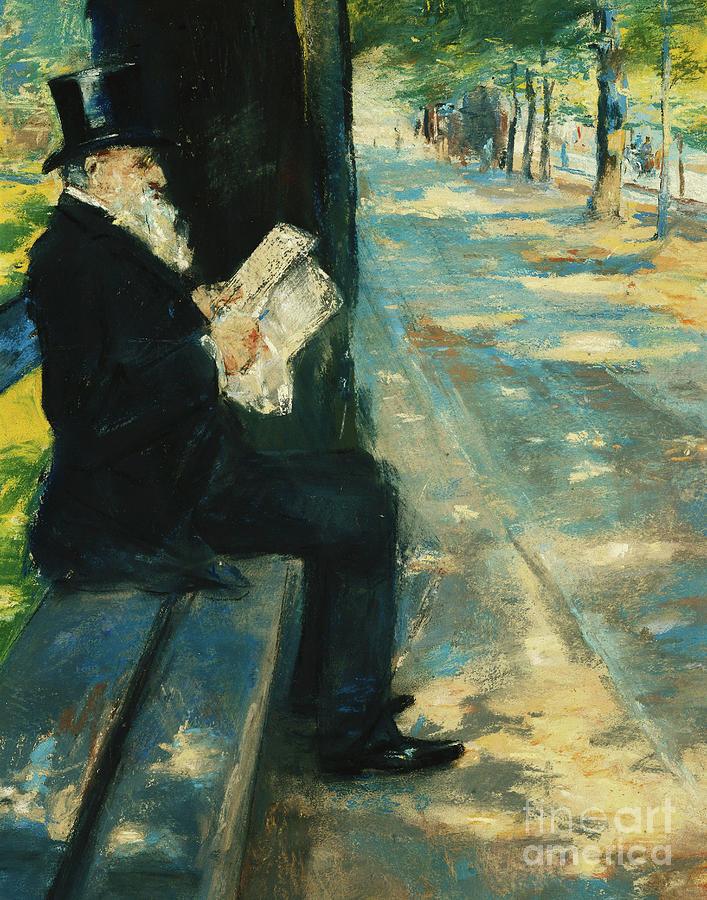 Chalk Pastel - Gentleman In The Park by Lesser Ury