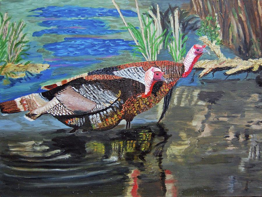 Turkey Painting - Gentlemen Goulds by Charla Van Vlack