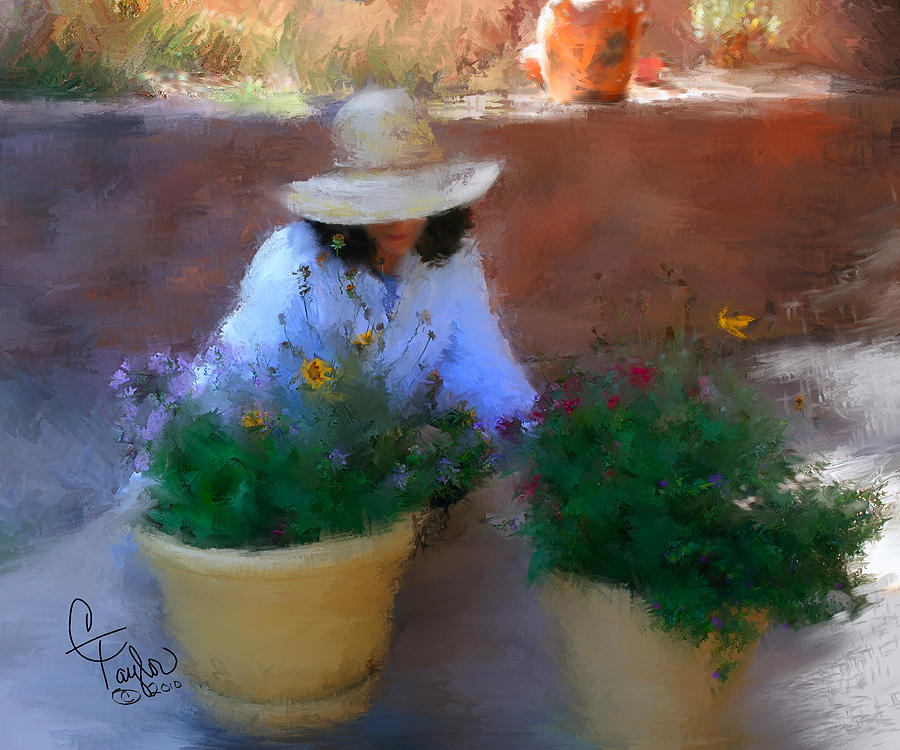 Woman Painting - Gently Does It by Colleen Taylor