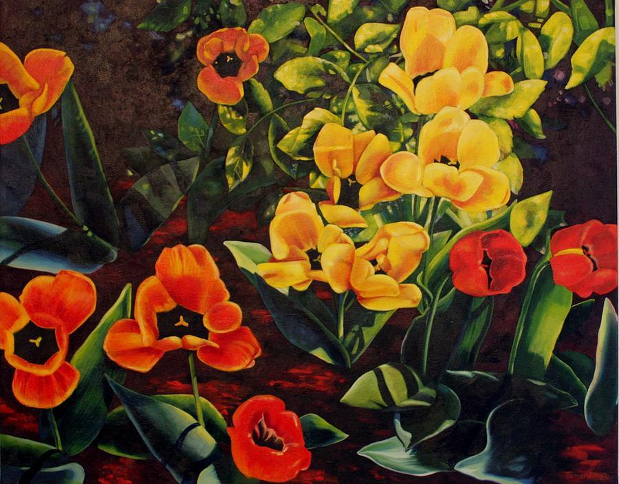 Tulips Painting - Gently Inhale the Tulips by Tamara Kulish