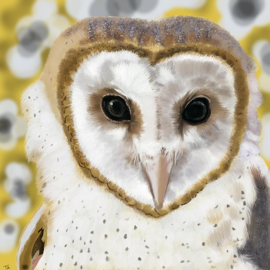 Owl Painting - Geometric Barn Owl by Tara Appling