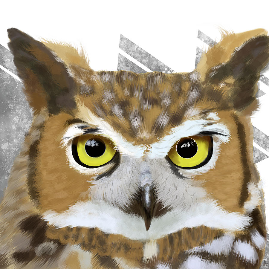 Owl Painting - Geometric Great Horned Owl by Tara Appling