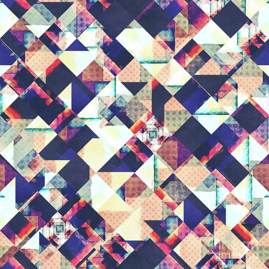 Grunge Digital Art - Geometric Grunge Pattern by Phil Perkins