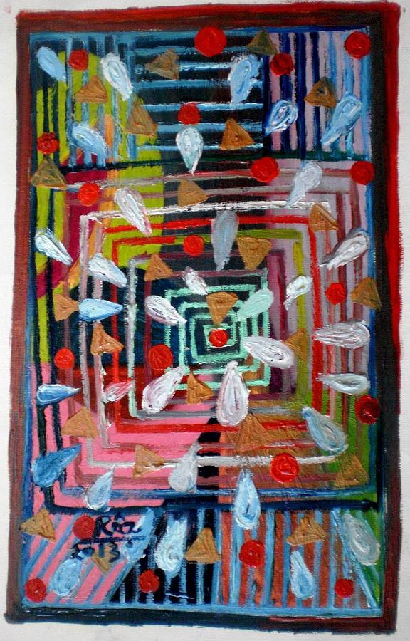 Geometric Happiness Painting by Rizwana Mundewadi