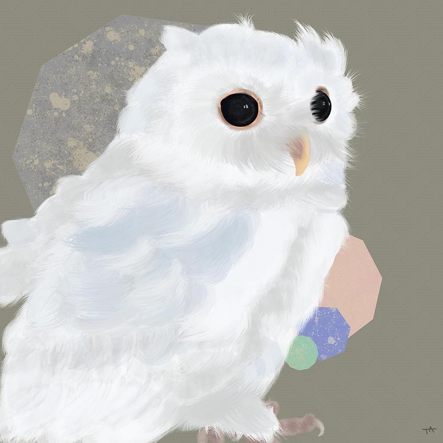 Owl Painting - Geometric White Owl by Tara Appling