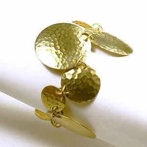 Jewelry Jewelry - Geometrix Offset Rounds Bracelet - Hammered Domed Brass  by Kelli Coaxum