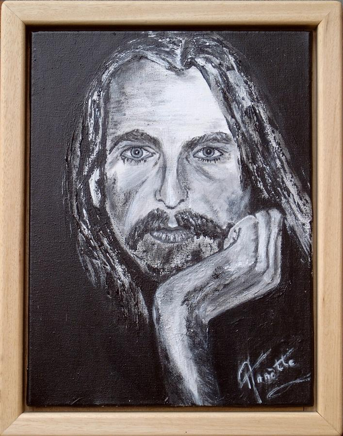 The Silent One Painting - George Harrison Portrait by Annette Steens