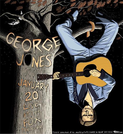 George Jones Drawing - George Jones Tour Poster by Jefferson Wood