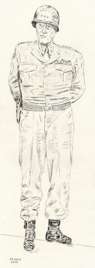 George S. Patton Drawing - George S. Patton by Dennis Larson
