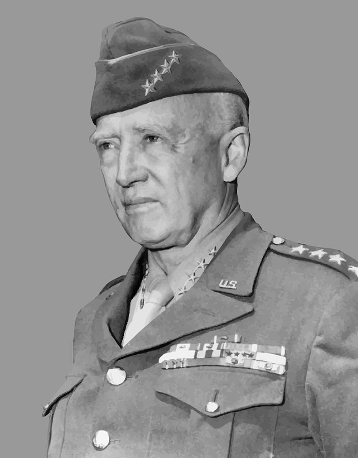 General Patton Painting - George S. Patton by War Is Hell Store