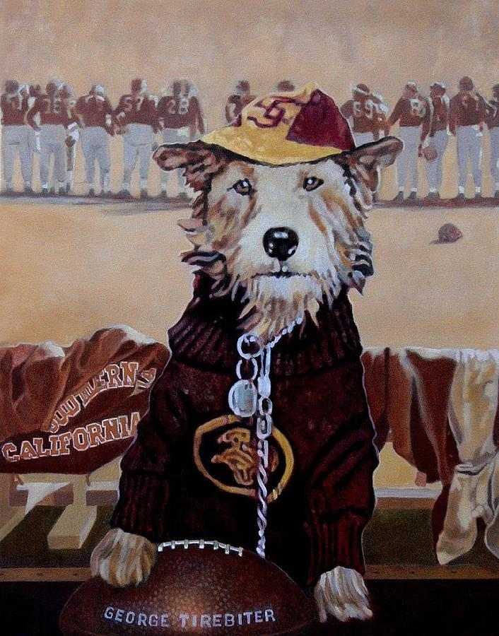 Dog Portrait Painting - George Tirebiter by Debra Freeman
