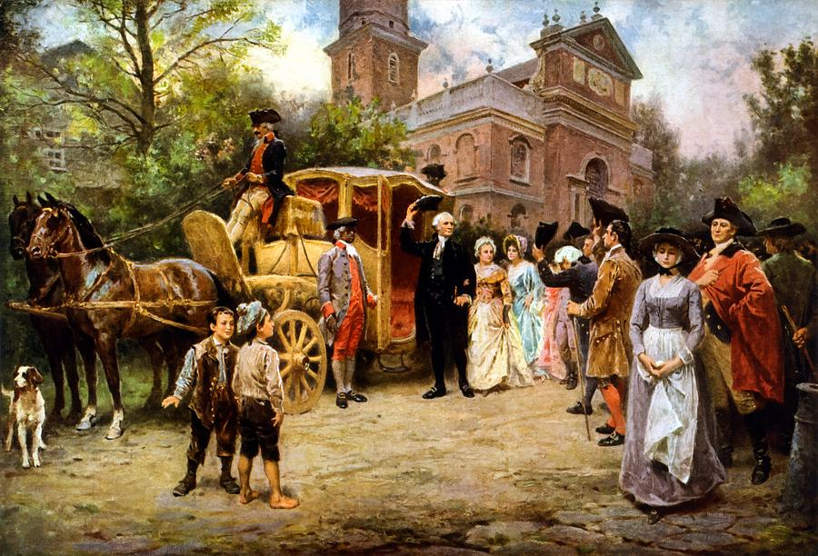 George Washington Arriving At Christ Church Painting By