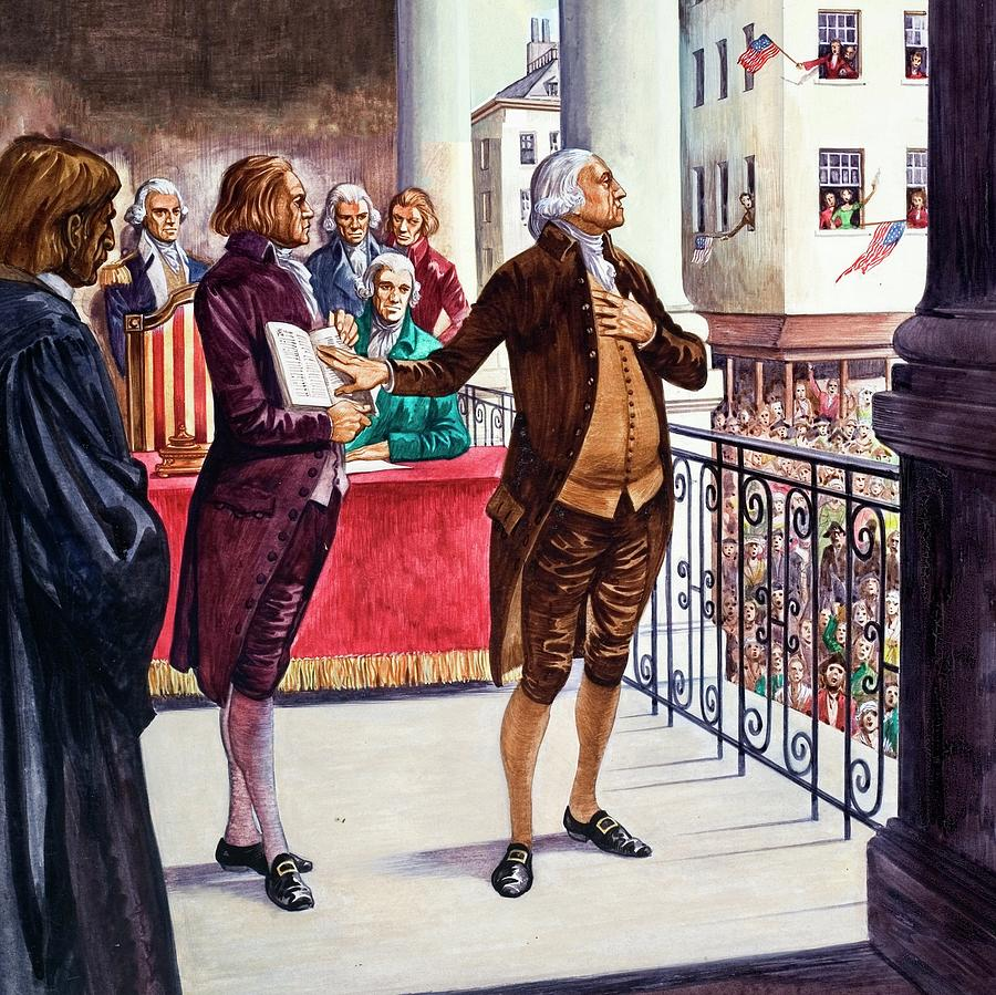 George Washington Being Sworn In As President Of The United States ...