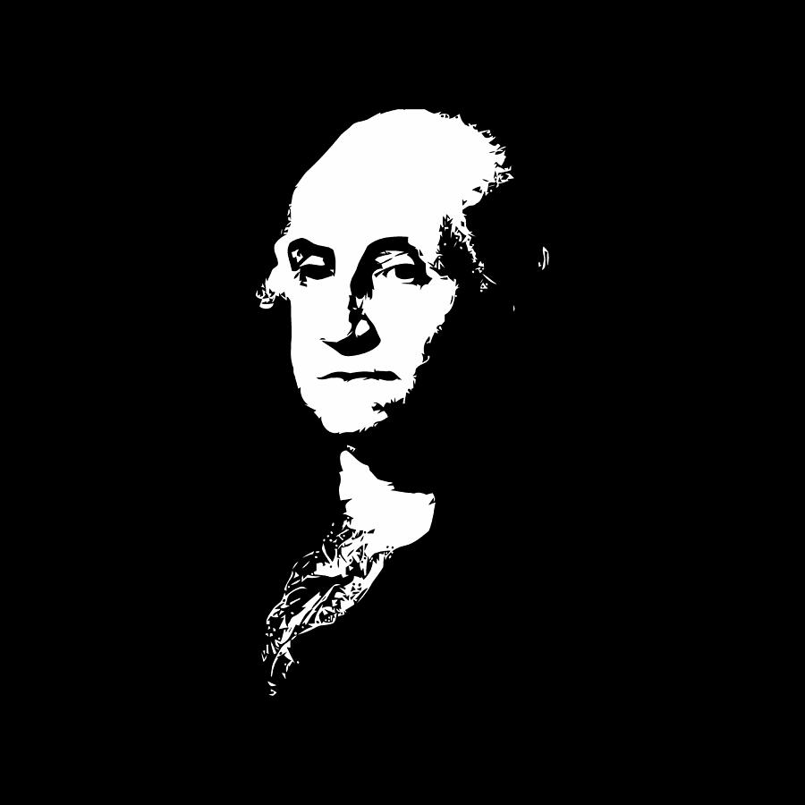 George Washington Digital Art - George Washington Black And White by War Is Hell Store