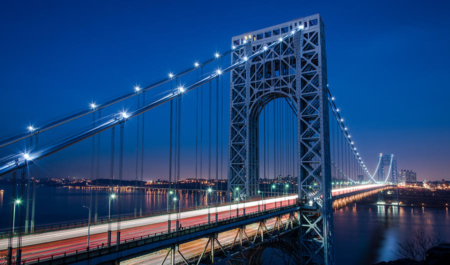 Gwb Photograph - George Washington Bridge Night Scenes by Michael Santos