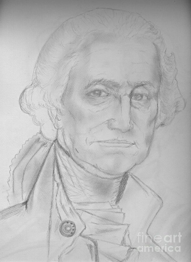 Pencil Portrait Drawing - George Washington by Egyartist JohnMourad