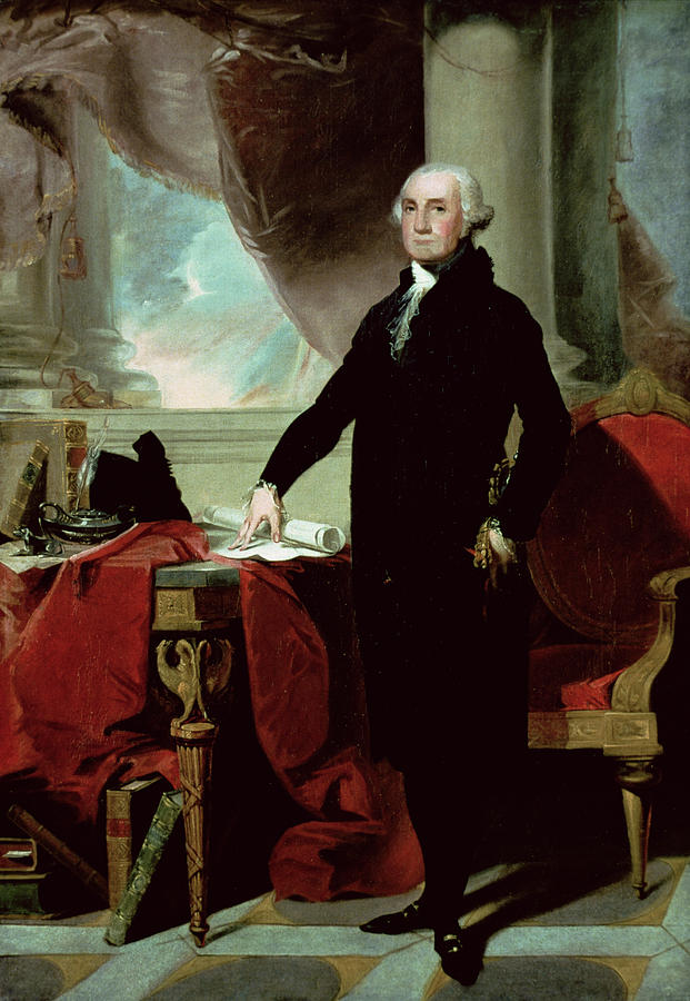 George Washington (1732-99) (colour Litho) By Gilbert Stuart (1755-1828) Painting - George Washington by Gilbert Stuart