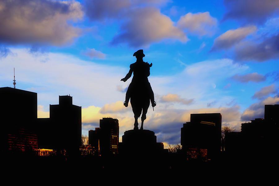 George Washington Statue Sunset - Boston Photograph