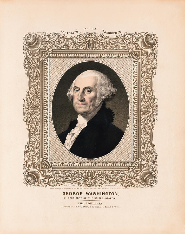 George Washington Drawing - George Washington - Vintage Color Portrait by War Is Hell Store
