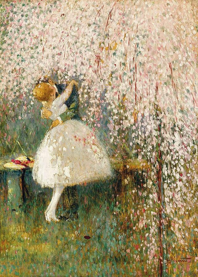 Beach Painting - Georges Picard French 1857 1946 Romance under the blossom tree by Artistic Panda