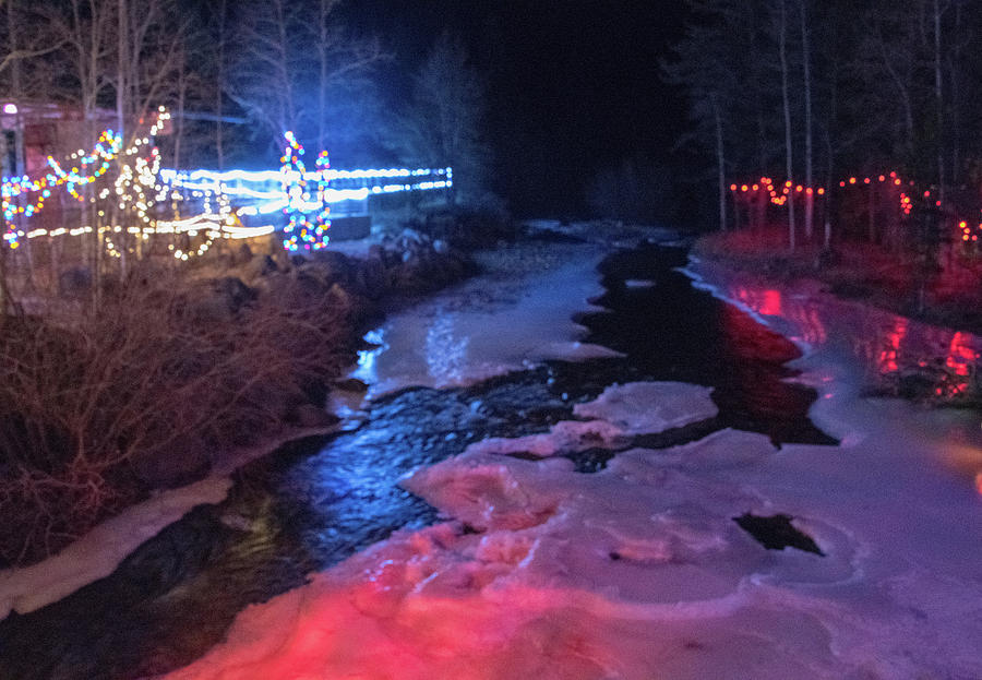 georgetown photograph georgetown colorado christmas lights on clear creek by jg thompson