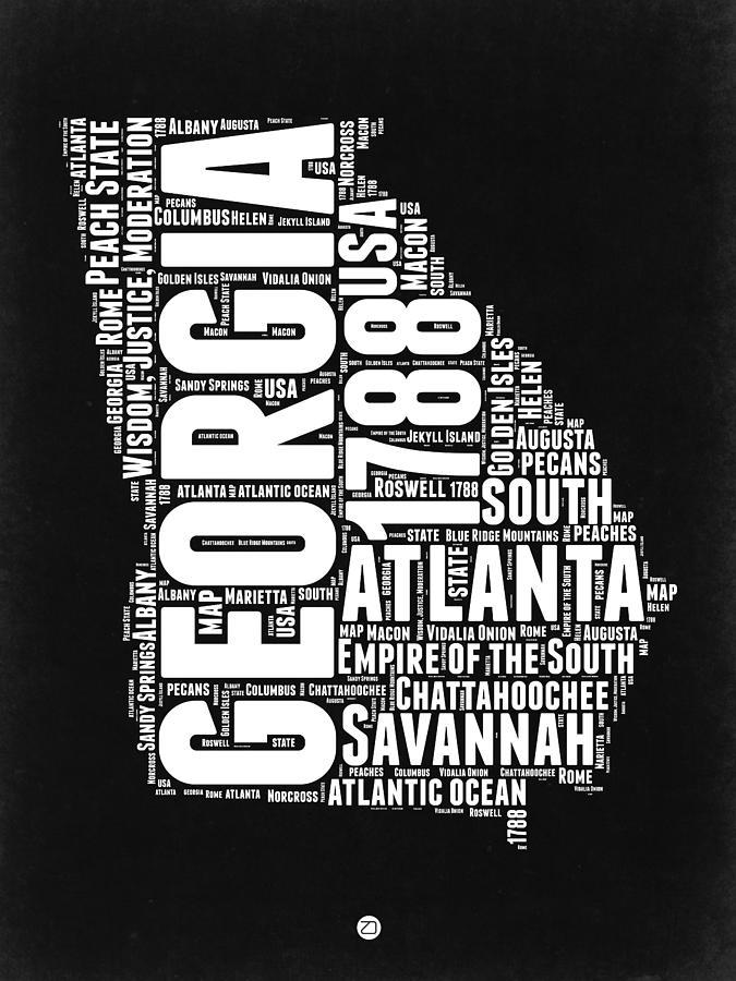 Georgia Digital Art - Georgia Black And White Word Cloud Map by Naxart Studio