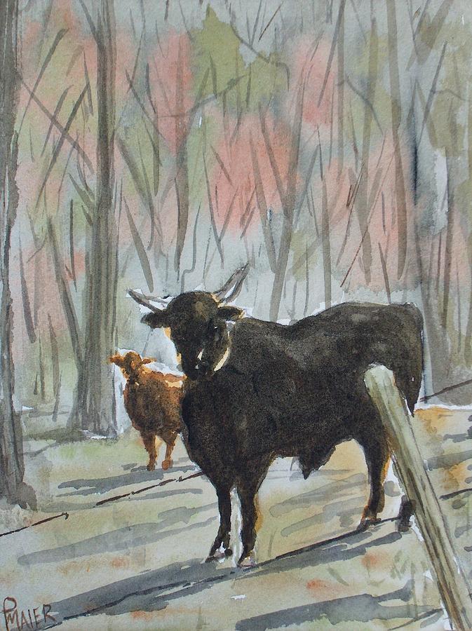 Bull Painting - Georgia Bull by Pete Maier
