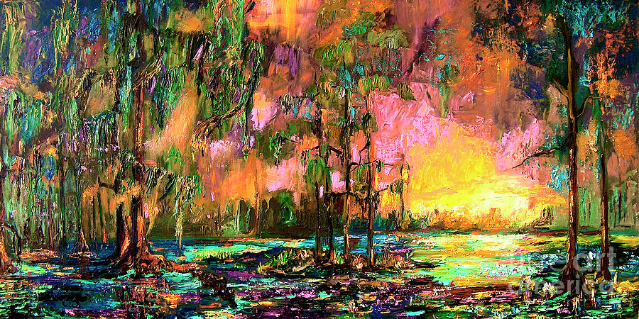 Sunset Painting - Georgia Landscape Okefenokee Sunset  by Ginette Callaway