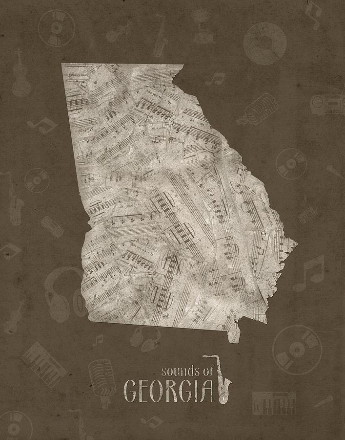 Georgia Map Music Notes 3 Digital Art