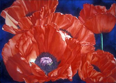 Red Poppies Painting - Georgia On My Mind by Mary Backer