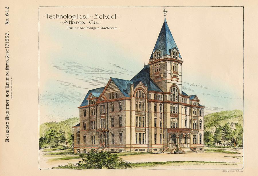 Georgia Painting - Georgia Technical School. Atlanta Georgia 1887 by Bruce and Morgan
