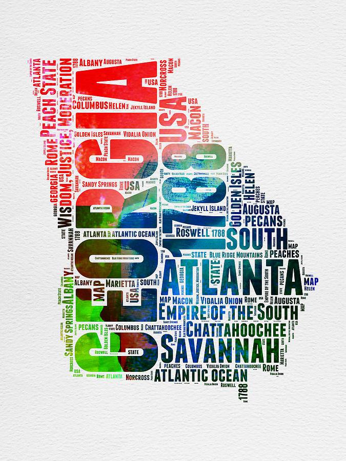 Georgia Digital Art - Georgia Watercolor Word Cloud Map  by Naxart Studio