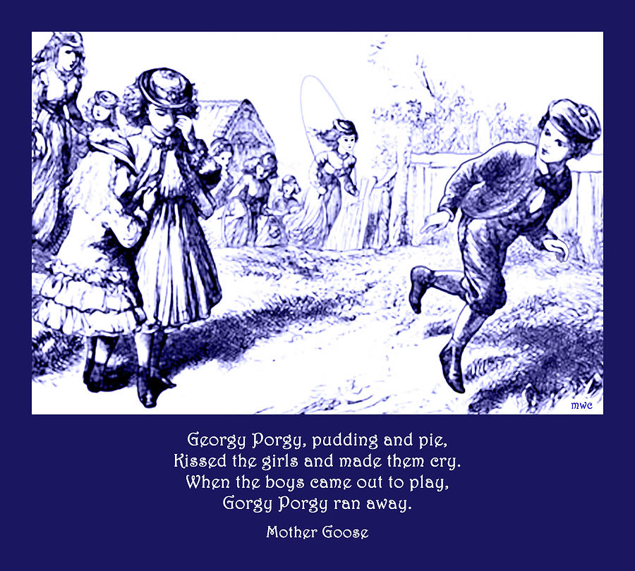 Georgy Porgy Mother Goose Illustrated Nursery Rhyme by Marian Cates