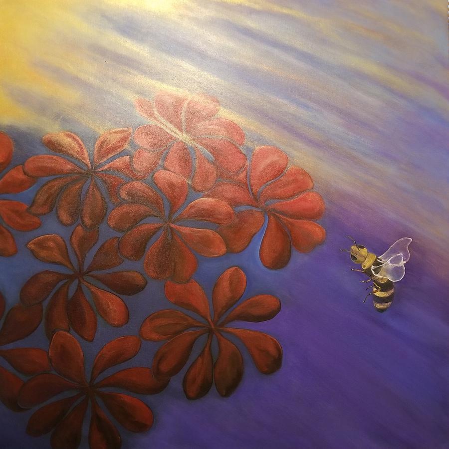 Geranium Painting - Geranium Bee by Ron Tango Jr
