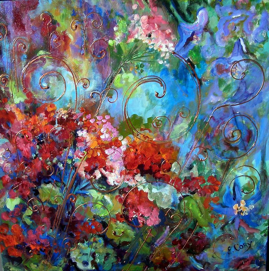 Floral Painting - Geranium Garden by Elaine Cory