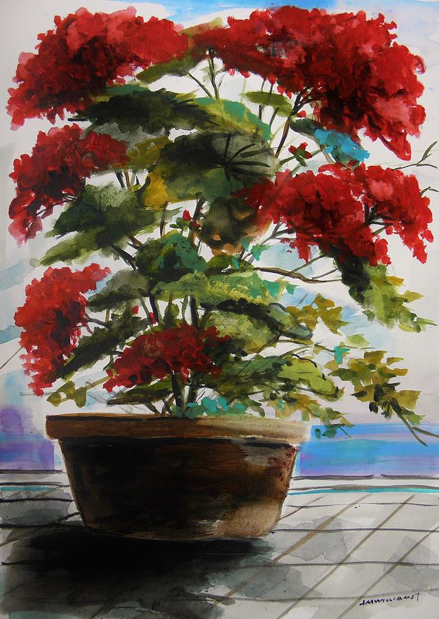 Red Geranium Painting - Geranium In June by John Williams