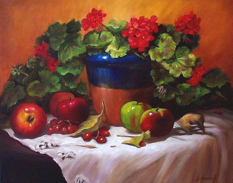 Still Life Painting - Geraniums And Apples by Donna Munsch