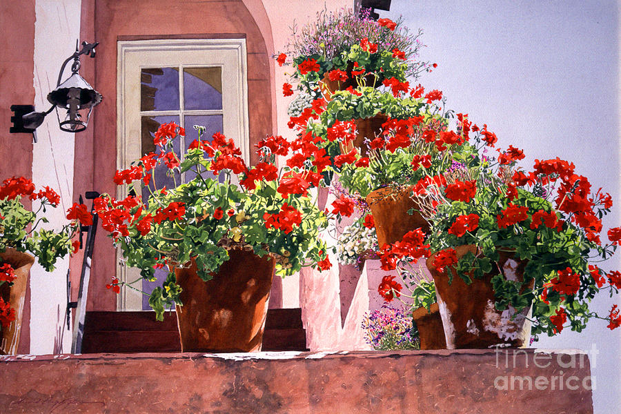 Watercolor Painting Painting - Geraniums At The Top Of Stairs by David Lloyd Glover
