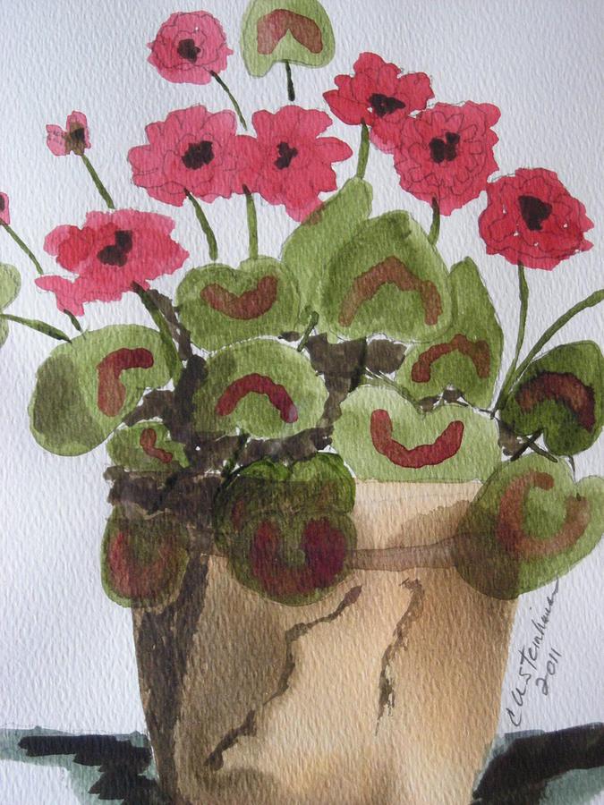 Geraniums Painting by Carol Steinhauer