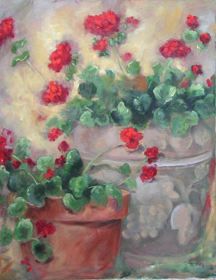 Geraniums Painting - Geraniums by Ginger Concepcion
