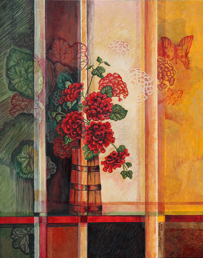 Geraniums in Churn by Joselyn Holcombe