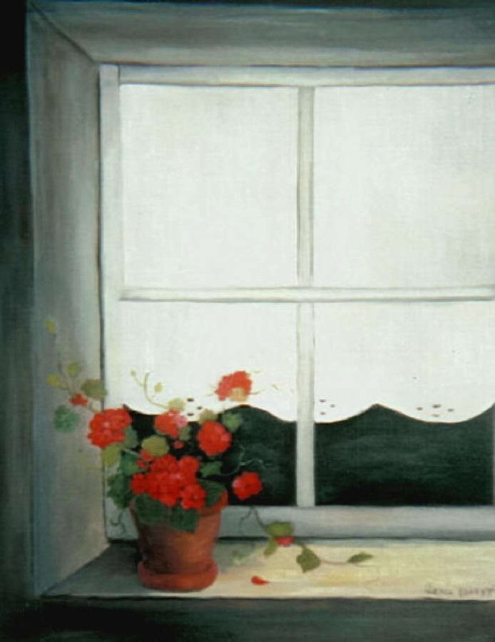Acrylic Painting Painting - Geraniums In Window by Glenda Barrett