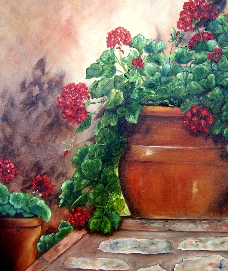 Geraniums on a Stone Wall by Susan Dehlinger