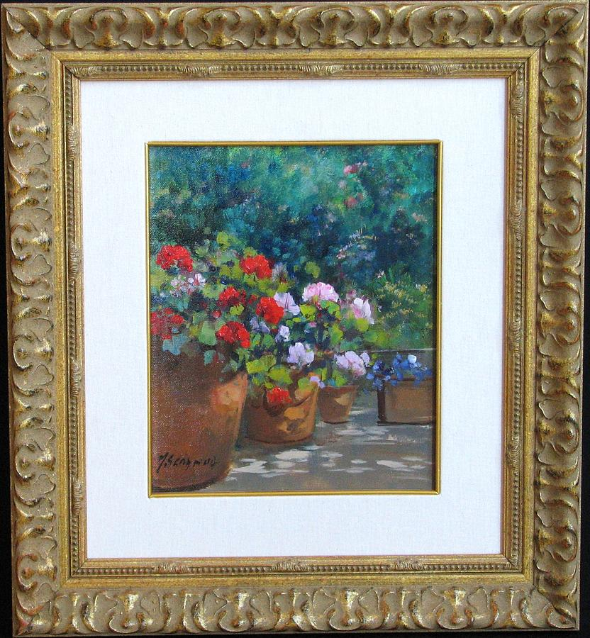 Geraniums Painting by Serafina