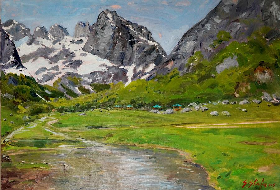 Landscape Painting - Gerbaje - Ne Mrekulline E Quajtur Guci by Sefedin Stafa