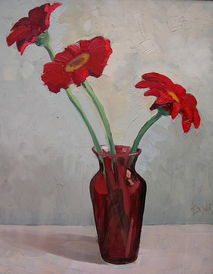 Gerbera Daisies II Painting by Eva Wittlinger
