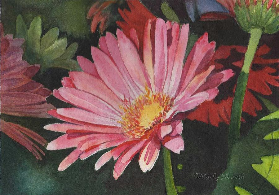 Watercolor Painting - Gerbera Daisy by Kathy Nesseth