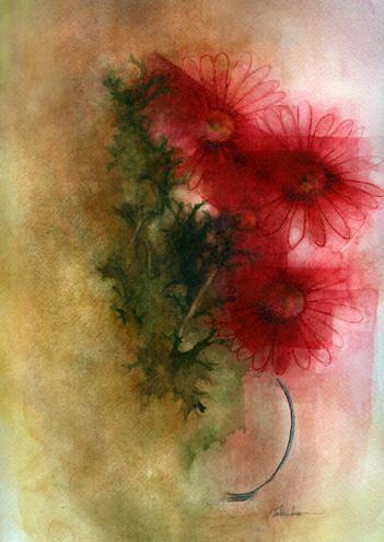 Gerbera Painting by Tokiko Anderson
