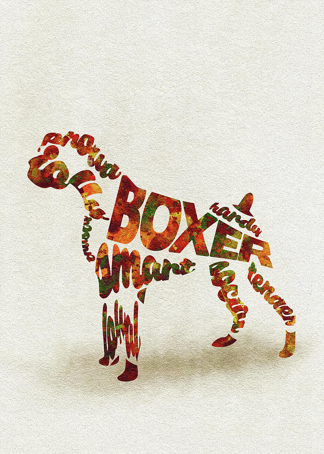 German Painting - German Boxer Watercolor Painting / Typographic Art by Inspirowl Design