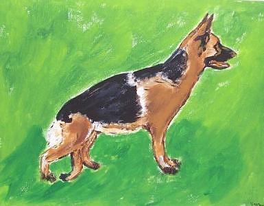 German Shepard Painting - German Shepard by Kathy Young